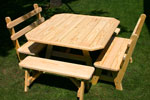 WOOD PICNIC TABLE AND BENCHES