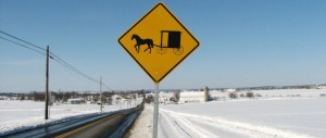 Amish buggy sign in snow