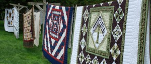 Quilts hanging on a line