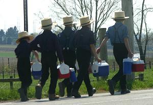 Amish boys walking to school
