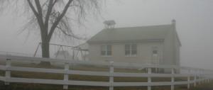 Amish School in fog