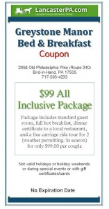 Greystone manor Bed & Breakfast Coupon