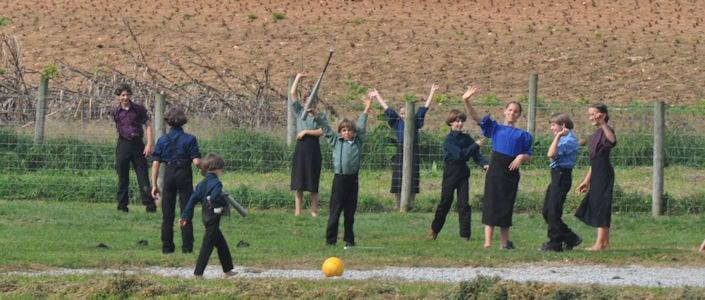 Amish School Kids Waving