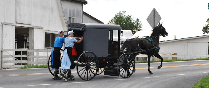 Amish Rollerblading Behind a Buggy