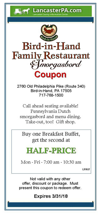Bird In Hand Restaurant Amp Smorgasbord Coupon Coupons