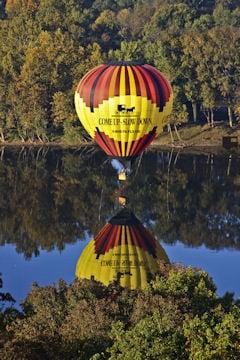 Hot air balloon over river