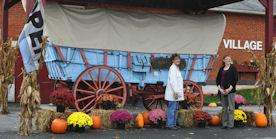 Conestoga wagon & pumpkins