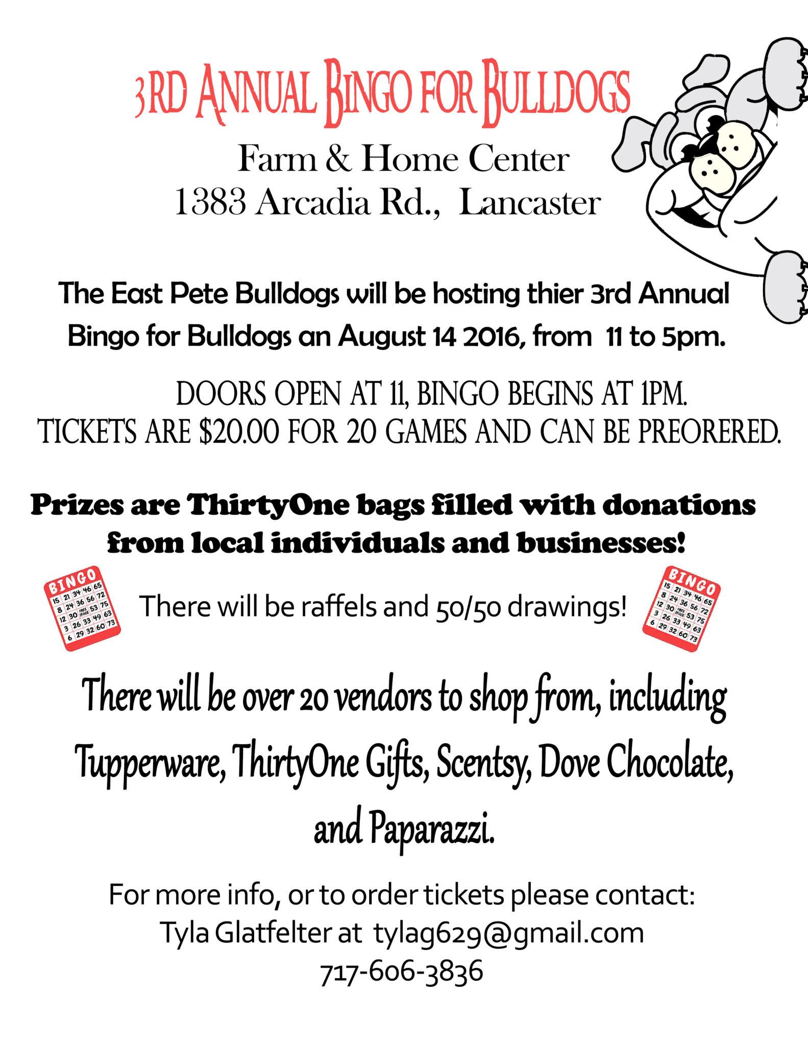 EVENT: 3rd Annual Bingo for Bulldogs Fundraiser | Events ...