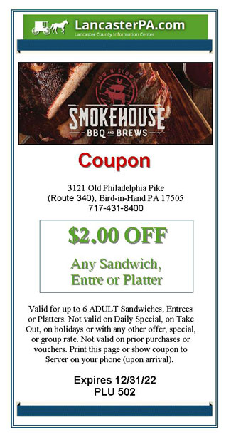 Smokehouse BBQ and Brews Coupon - Plain & Fancy